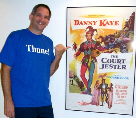 "Craig at home with his prized ""Court Jester"" 1-Sheet poster"
