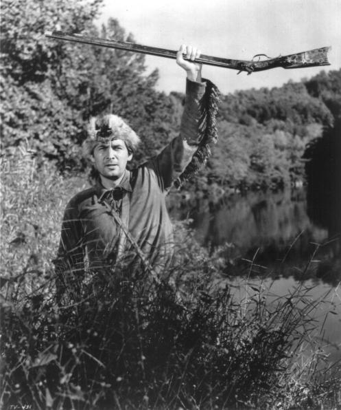 Fess Parker as Davy Crockett (black & white)