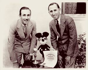 Walt and Roy Disney with Mickey Mouse and a special Academy Award