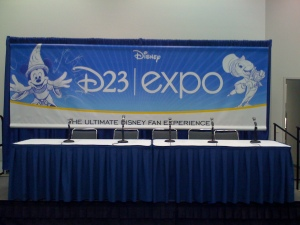 The D23 Expo press conference set-up