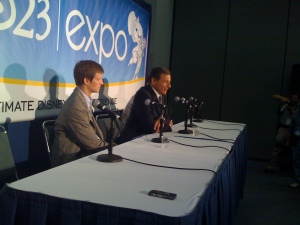 Disney's Steven Clark and Bob Iger at the first D23 Expo press conference