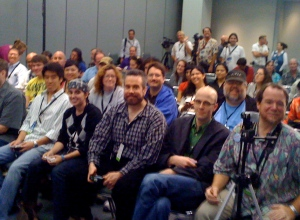 Some of the intrepid D23 Expo press contingent