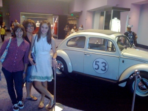 "Erin, Diane and Emily hang with the original Herbie from ""The Love Bug"""