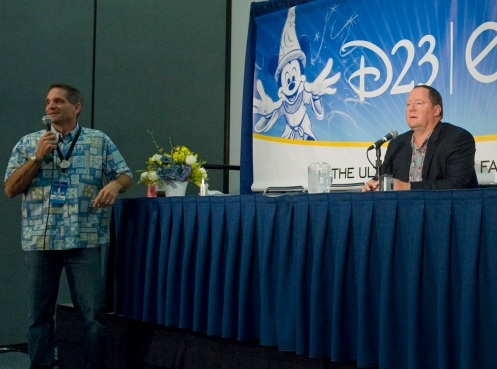 Me hosting John Lasseter in the D23 Expo press conference room